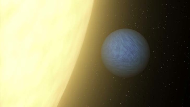An artist's rendition of the planet 55 Cancri e orbiting its sun in the constellation of Cancer.