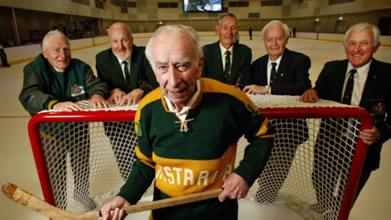 Russell Jones, Noel McLoughlin, Basil Hansen, Noel Derrick, Ken Wellman and Rob Reidwere in the 1960 Australian ice hockey team.