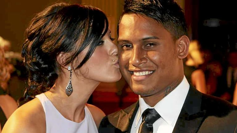 Ben Barba with partner Ainslie Currie at last year's Dally M Awards.