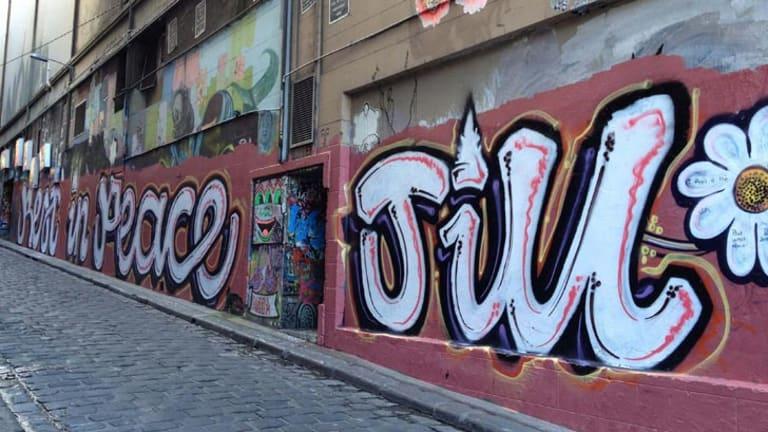 Hosier Lane's 20-metre long mural paying tribute to Jill Meagher.