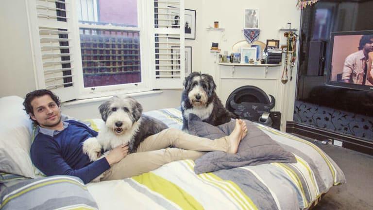 Pet subject: House-sitter Lonny Szprinc on the job.