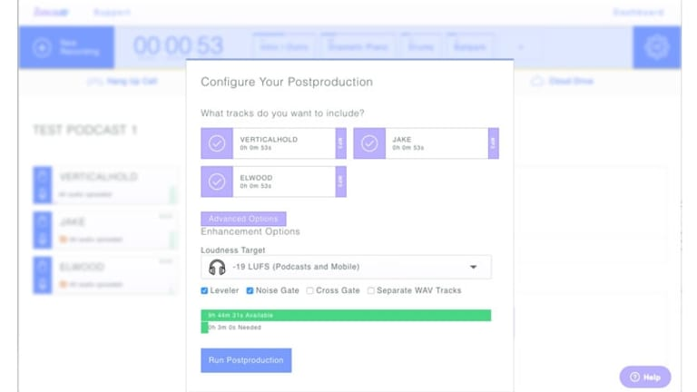 Zencastr's post-production menu lets you select recordings, choose the preferred levels and set other preferences.