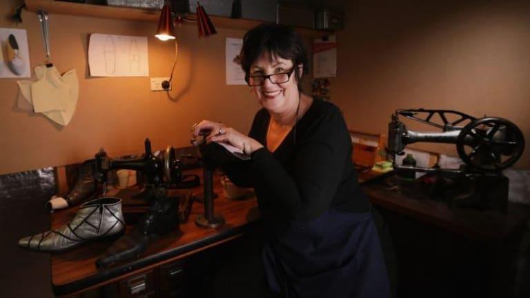 Bespoke shoemaker Betty Ennis in her studio.