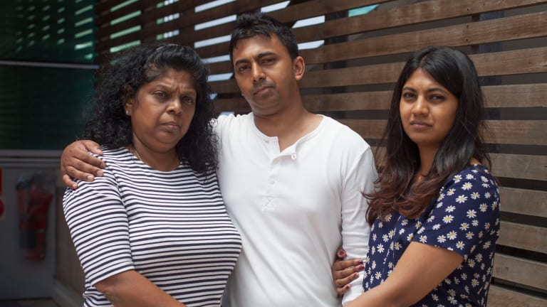 The family of Myuran Sukumaran, mother Raji, left, brother Chinthu and sister Brintha.