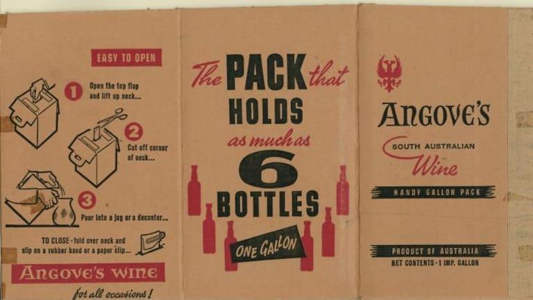 Original Angove's cask wine packaging.