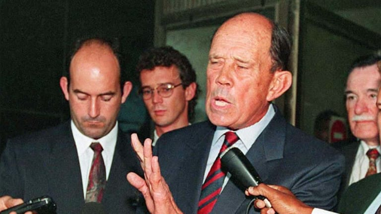 Former South African General Magnus Malan outside court in Durban in 1995. He and 10 other generals appeared over their alleged involvement in the 1987 massacre of 13 people in KwaMakhutha, south of Durban.
