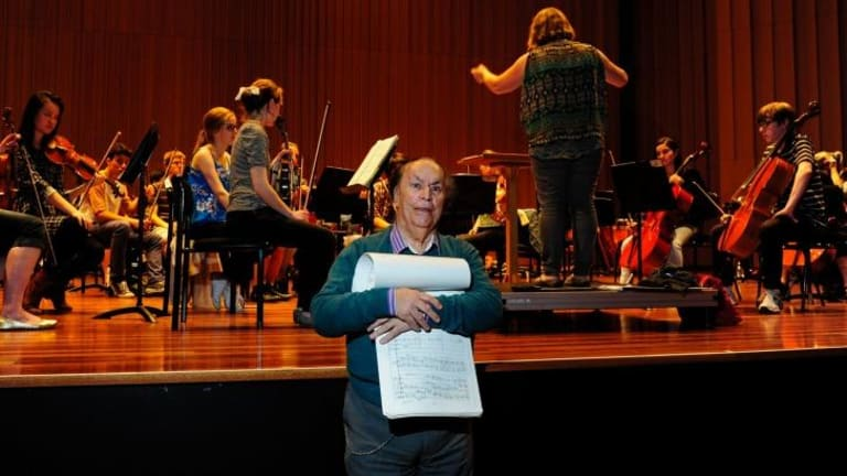 Inspiring generations: Composer Larry Sitsky at a rehearsal of the Canberra Youth Orchestra concert celebrating his 80th birthday.