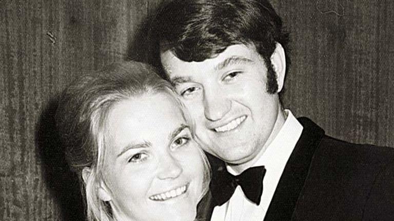 Author Helen Cummings with her husband, Stuart Wynter.