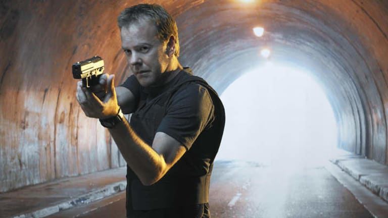 Clock gets ticking again ... Kiefer Sutherland in the long-running counter terrorism series <i>24</i>.