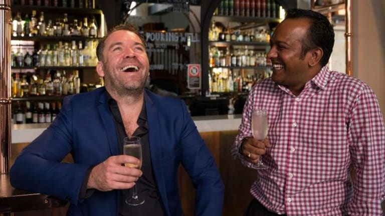 Brendan Cowell (left), director of <i>Ruben Guthrie</i>, with Sydney Film Festival director Nashen Moodley.