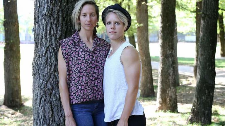 Finding her feet: Sally Shipard (left) with her partner Lori Lindsey in Glebe Park.