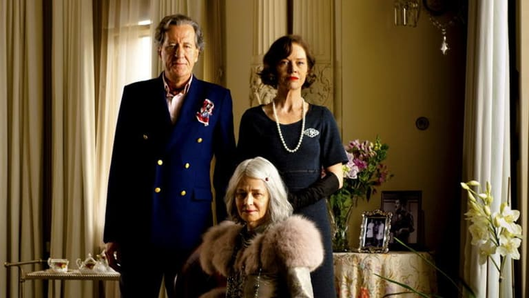 Happy family - sort of: Geoffrey Rush, Judy Davis and Charlotte Rampling play off each other in Fred Schepisi's rambling new film <i>The Eye of the Storm</i>.