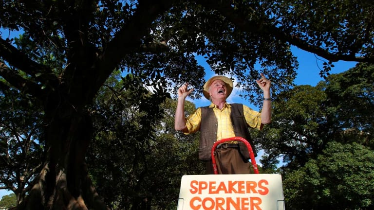On his soapbox ...  Steve Maxwell on a roll  at  Speakers Corner in the Domain where he can be found each Sunday.