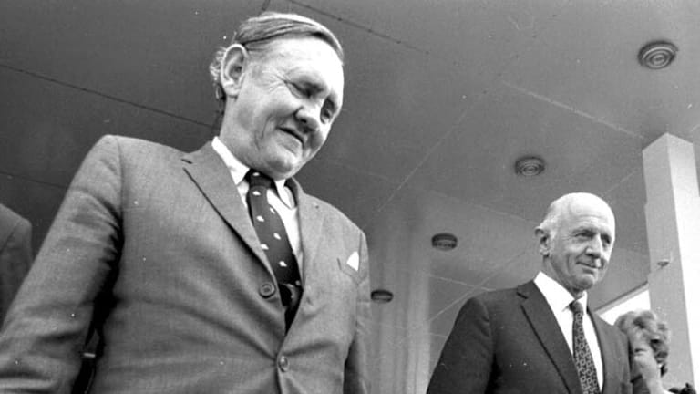 John Gorton and William McMahon ... after a lacklustre election result,  Prime Minister John Gorton faced his first leadership challenge.