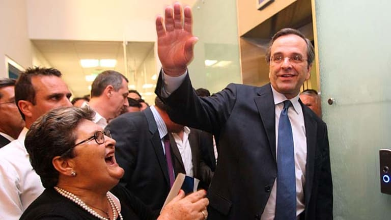 New Democracy leader Antonis Samaras ... his party remained the largest, but it fell short of an absolute majority in parliament.