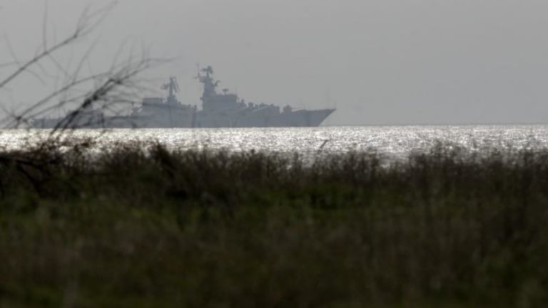 The Russian guided missile cruiser Moskva on patrol in the Black Sea.