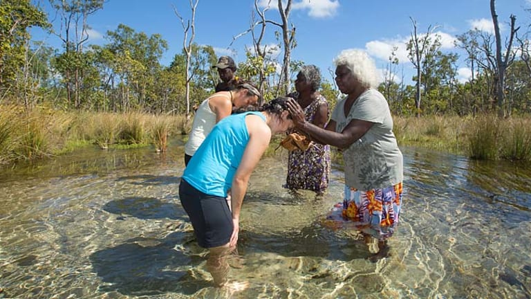 Mutual understanding:  Arnhem Land traditional owners Hagar Bulliwana and Lois Nadjamerik welcome the visitors to their country.