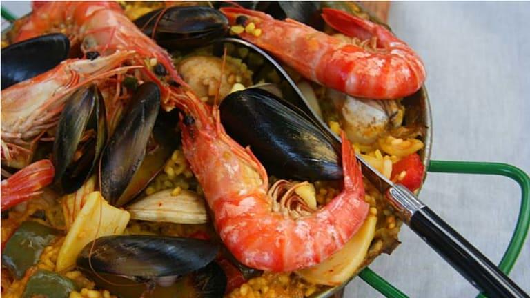 Road testing Rick Stein's seafood paella.