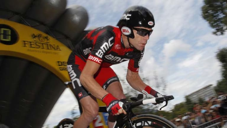 On the cusp of greatness ... Cadel Evans begins the 42.5km time trial that seals his fate in Tour de France history.