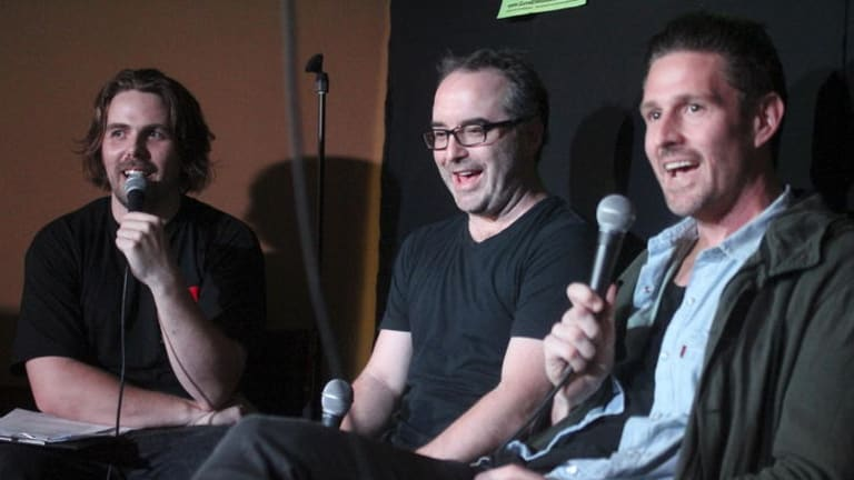 Steele Saunders (left) on his <i>I Love Green Guide Letters</i> podcast with fellow comedians Justin Hamilton and Wil Anderson.