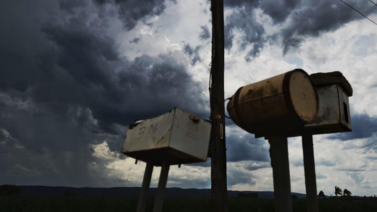 Dark clouds gather at Yarramundi in Sydney's west on Wednesday afternoon.