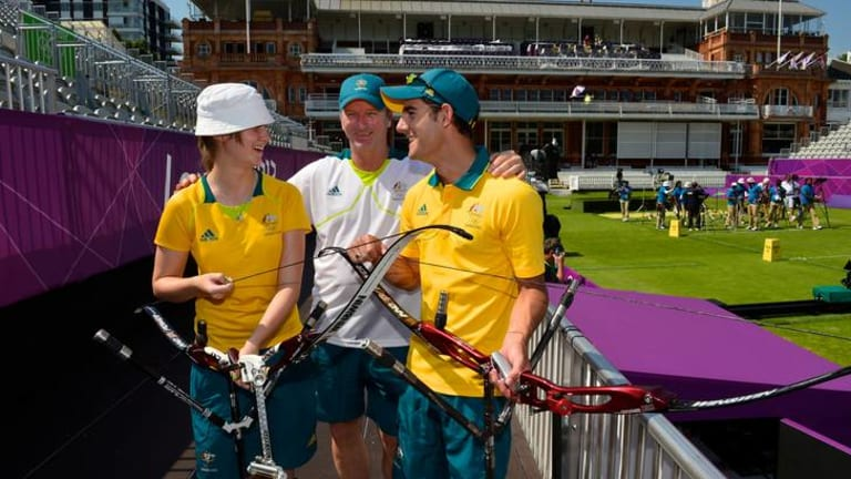 Baggy green and gold ... Steve Waugh is with the Australian Olympic team in London as an athlete liaison officer.