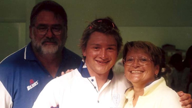 Happier times ... with his now deceased parents Ian and Vanda.