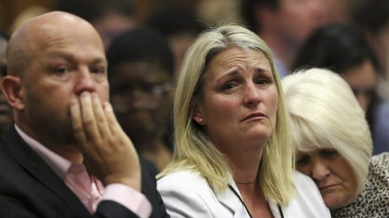 Heartbreak: Reeva Steenkamp's family react to the verdict.
