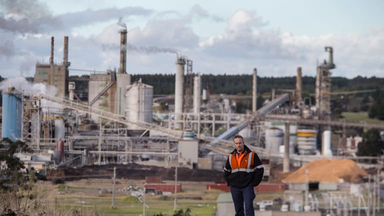 Australia Paper worker Darrin Canning at the Morwell site.