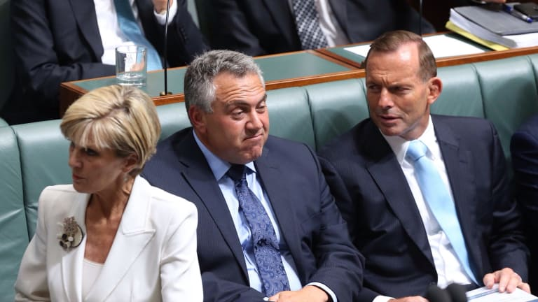 Foreign Minister Julie Bishop, Treasurer Joe Hockey and Prime Minister Tony Abbott in Question Time on Monday.