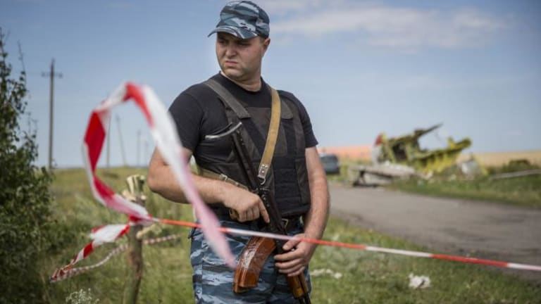 A member of a local militia guards remnants of Malaysia Airlines flight MH17 during a visit by monitors from the Organisation for Security and Cooperation in Europe on the weekend.