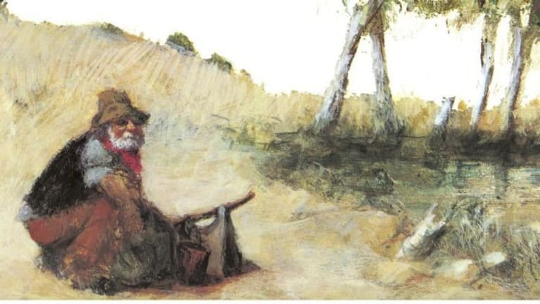A Desmond Digby illustration from a 1970 edition of <i>Waltzing Matilda</i>.
