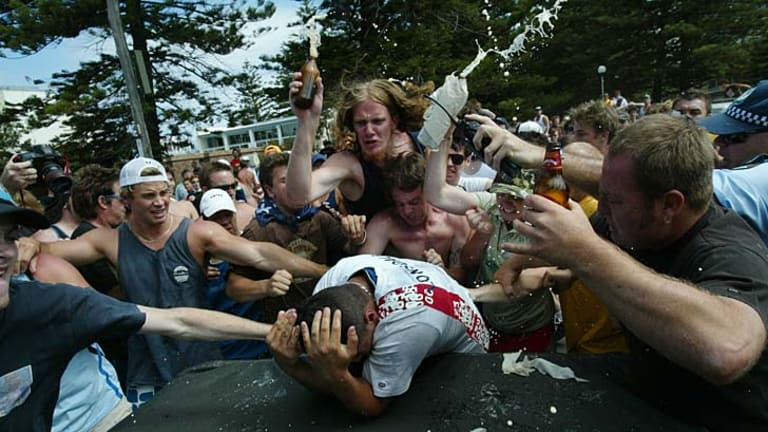 A scene from the Cronulla riots in 2006.