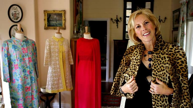Charlotte Smith with a selection of the vintage designer garments she inherited from her god mother.