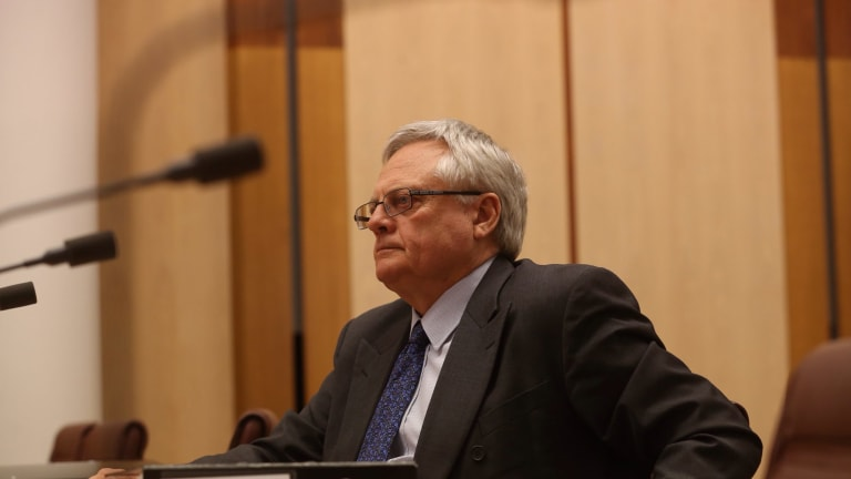 Dr Gary Rumble appearing before a Senate committee examining the Defence Abuse Response Taskforce 2014. Photo: Andrew Meares