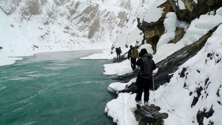 Big chill: One ill-timed step could mean death in the icy waters.