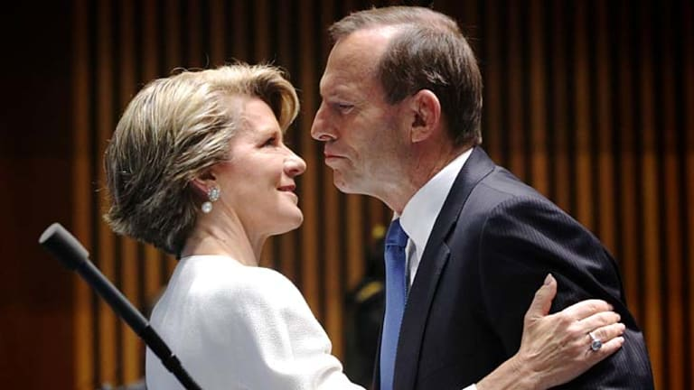 Opposition Leader Tony Abbott and Deputy Opposition Leader Julie Bishop, one of only two women in Abbott's Cabinet.
