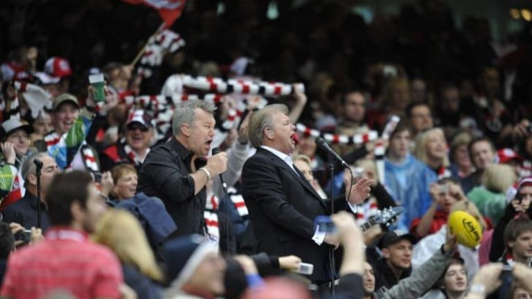 Jimmy Barnes and John Farnham, seen here performing at the 2009 AFL Grand Final, have made it clear they do not support Reclaim Australia's use of their songs.