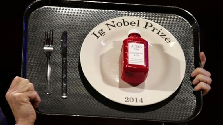 The 2014 Ig Nobel Prize trophy.