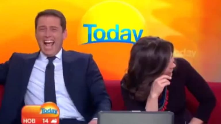Karl Stefanovic in his Burberry knock-off with co-host Lisa Wilkinson.