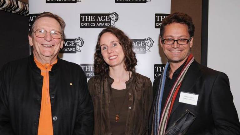 Fred Schepisi and producer Gregory Read accept the The Age Critics Award for Best Australian Feature Film from Gina McColl at the Melbourne Iternational Film Festival .