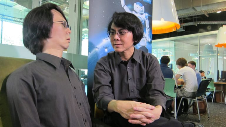 Professor Hiroshi Ishiguro with his robot twin.