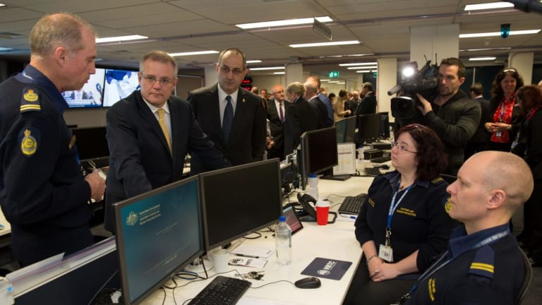 Scott Morrison Launches New Border Protection Centre In Canberra