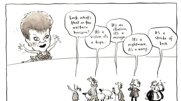 Fairfax cartoonist Cathy Wilcox's take on Pauline Hanson's influence in 2001 just after One Nation had won 10 per cent of the vote in the WA state election.