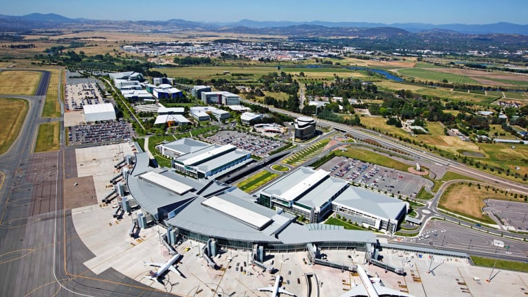 At least 22 airports across Australia are though to be affected by legacy chemical contamination. Pictured is Canberra Airport, where contamination has been detected near the old fire fighting training ground.