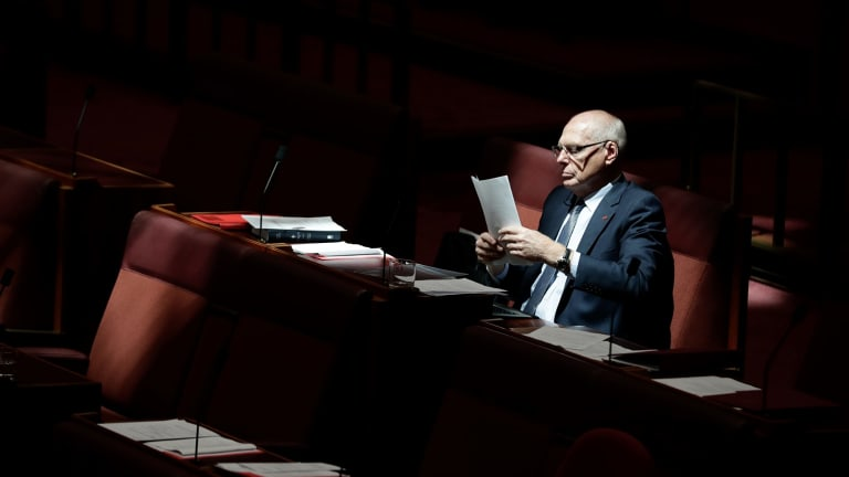 Senator Jim Molan in the Senate at Parliament House in Canberra on Monday 5 February 2018. fedpol Photo: Alex Ellinghausen