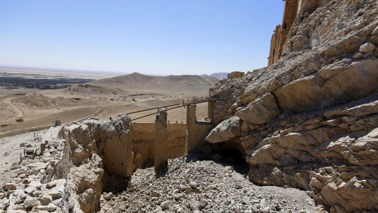 Damage left by Islamic State forces in the ancient city of Palmyra.