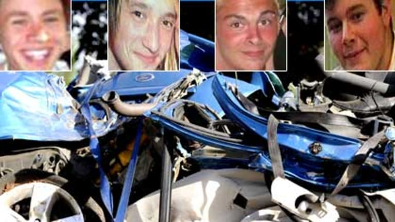 The mangled remains of Steven Johnstone's (inset left) Ford Falcon. Among the five people also killed were Anthony Iannetta, Mathew Lister and Ben Hall.
