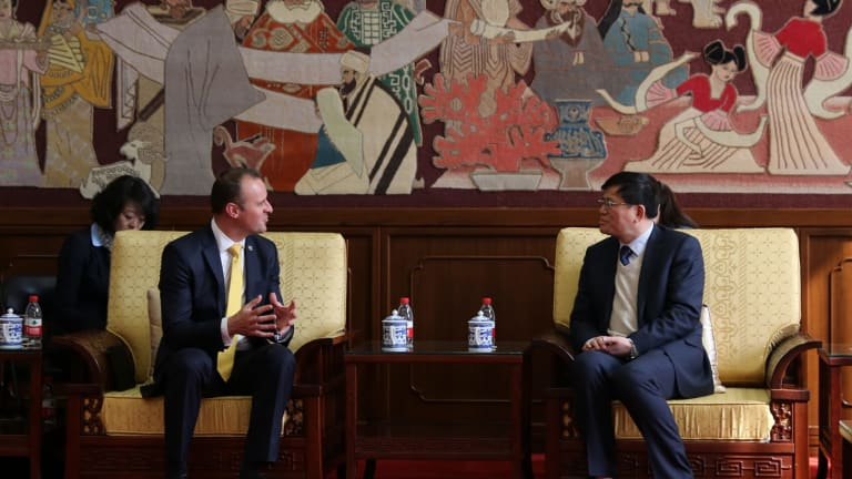 Chief Minister Andrew Barr meeting  National Library of China director Han Yongjin.