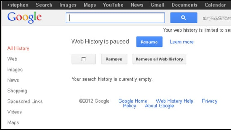 """How your web history page should look after you've clicked """"remove""""."""